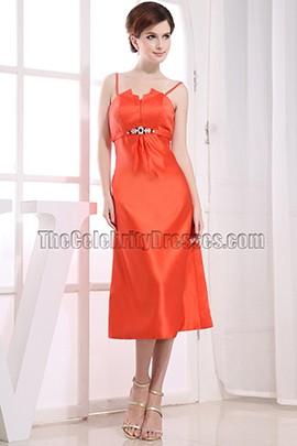 Elegant Oranger Red Tea Length Bridesmaid Dress Prom Dresses