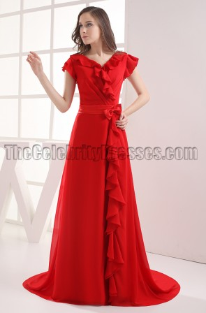 Elegant Red V-neck Prom Gown Evening Formal Dresses