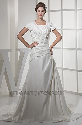 Elegant Short Sleeves A-Line Taffeta Wedding Dresses