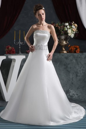 Elegant Strapless A-Line Beaded Lace Up Wedding Dresses
