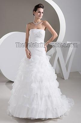 Elegant Strapless A-Line Sweep/Brush Train Wedding Dresses