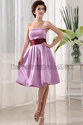 Strapless Knee Length Cocktail Graduation Bridesmaid Dresses