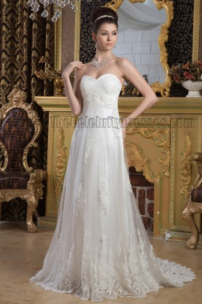 Elegant Strapless Sweetheart A-Line Lace Sweep/Brush Train Wedding Dress