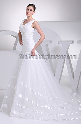 Elegant V-Neck A-Line Organza Wedding Dresses