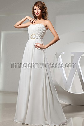 White Floor Length Strapless Evening Dress Prom Dresses