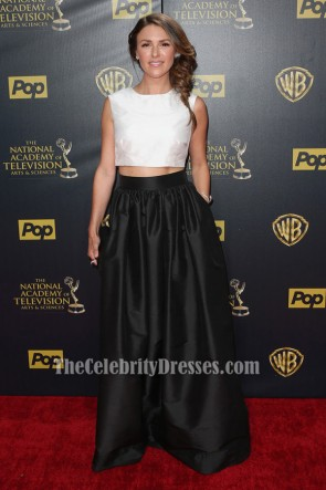 Elizabeth Hendrickson White And Black Two Piece Formal Dress 2015 Daytime Emmy Awards TCD6323