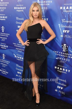 Elsa Hosk Black Strapless Evening Dress 2017 Fragrance Foundation Awards TCD7311