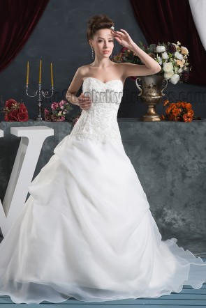 Embroidered Strapless A-Line Organza Wedding Dresses