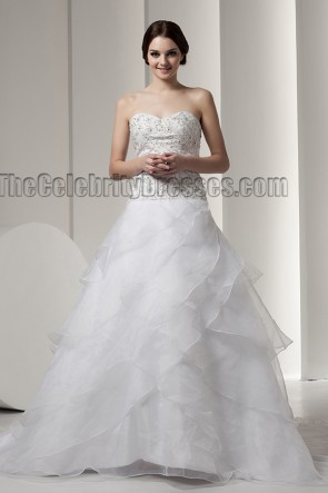 Embroidered Sweetheart Strapless A-Line Chapel Train Wedding Dress