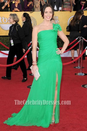 Emily Blunt Green One Shoulder Prom Dress 2012 SAG Awards Red Carpet
