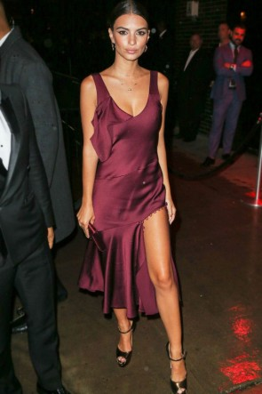 Emily Ratajkowski 2016 Met Gala After Party Dress Burgundy Cocktail Dresses TCD7403