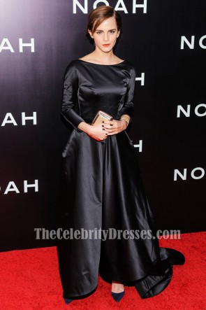 Emma Watson Black Backless Formal Dress New York Premiere of Noah
