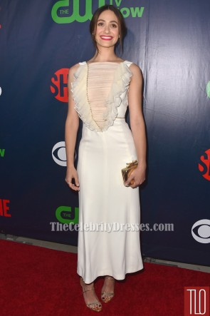 Emmy Rossum Ivory Evening Dress CBS' 2015 Summer TCA Party