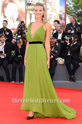Fiammetta Cicogna Sexy Green Prom Dress 70th Venice International Film Festival