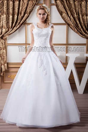 Floor Length A-Line Lace Organza Wedding Dresses