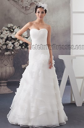 Floor Length A-Line Strapless Organza Sweetheart Wedding Dresses