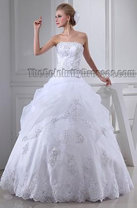 Floor Length Ball Gown Beaded Strapless Organza Wedding Dress