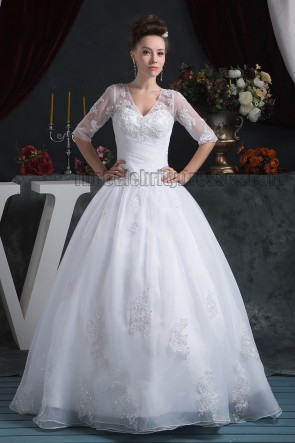 Floor Length Ball Gown V-Neck Lace Wedding Dresses