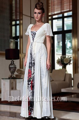 Floor Length Chiffon Cap Sleeve Formal Dress Prom Gown