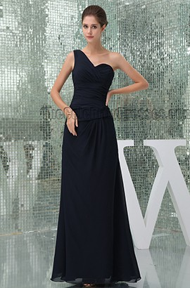 Floor Length Dark Navy One Shoulder Bridesmaid Prom Dresses