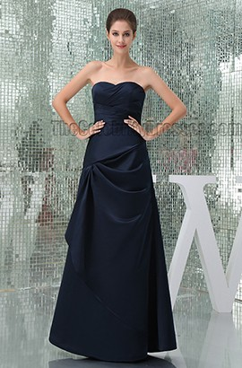 Floor Length Dark Navy Strapless Bridesmaid Prom Dresses