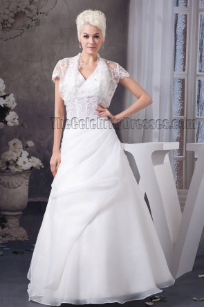 Floor Length Halter A-Line Wedding Dress With A Wrap