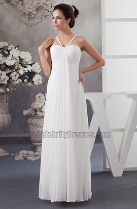 Floor Length Ivory Chiffon Beach Wedding Dresses
