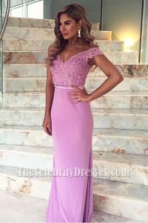 Floor Length Lilac Off-the-Shoulder Formal Dress Evening Gown