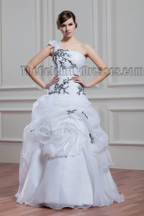Floor Length One Shoulder Embroidered Organza Wedding Dress