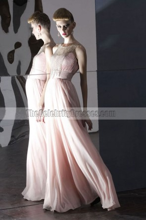 Floor Length Pink A-Line Beaded Prom Gown Evening Dress