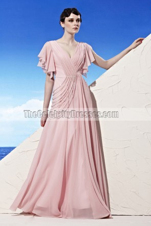 Floor Length Pink V-Neck Cut Out Evening Dress Prom Gown