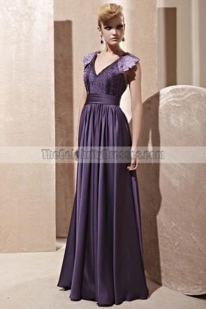 Floor Length Purple Open Back Evening Dress With Beading