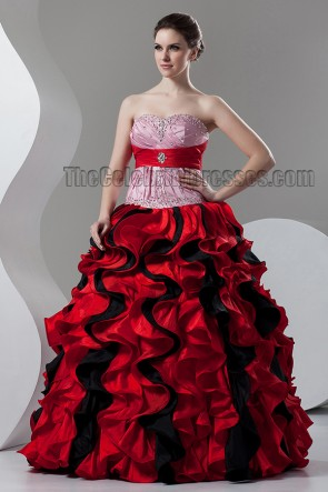 Floor Length Red Ball Gown Strapless Ruffles Wedding Dresses