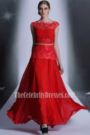 Floor Length Red Beaded Formal Dress Evening Prom Gown
