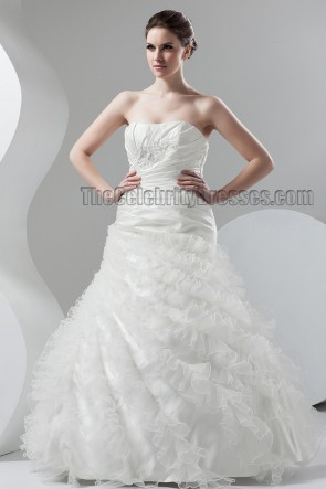 Floor Length Strapless A-Line Bridal Gown Wedding Dresses