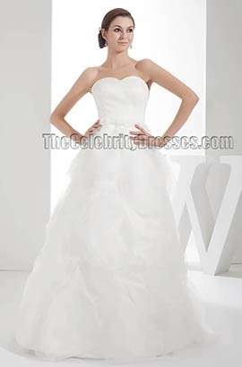 Floor Length Sweetheart Strapless A-Line Organza Wedding Dresses