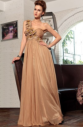 Floor Length Sweetheart One Shoulder Formal Gown Evening Dress