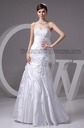 Floor Length Sweetheart Strapless Beaded Wedding Dresses