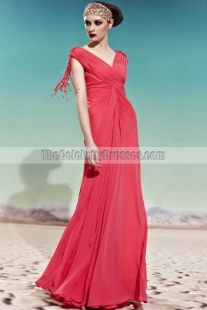 Floor Length V-Neck Chiffon Prom Gown Evening Formal Dresses