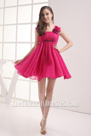 Cute Short Fuchsia Chiffon Homecoming Party Dresses