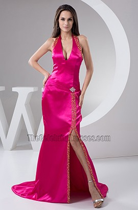 Fuchsia Halter Silk Like Satin Evening Gown Prom Dresses