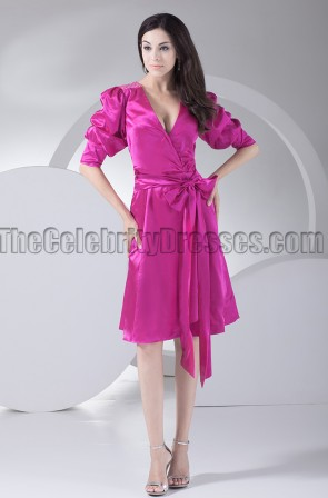 Chic Fuchsia Knee Length Cocktail Party Graduation Dresses