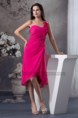 Fuchsia One Shoulder Chiffon Bridesmaid Cocktail Dresses