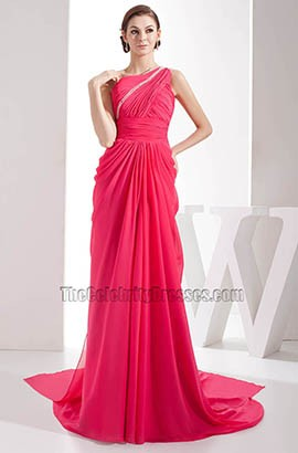 Fuchsia One Shoulder Chiffon Evening Formal Dress Prom Gown