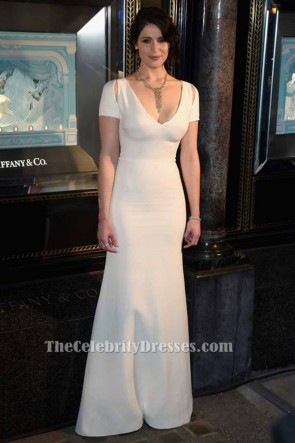 Gemma Arterton Ivory Cut Out V-Neck Evening Dress Formal Gown TCD6398