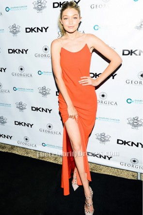 Gigi Hadid Orange Backless Evening Gown Ovarian Cancer Research Fund's Memorial Day TCD6339