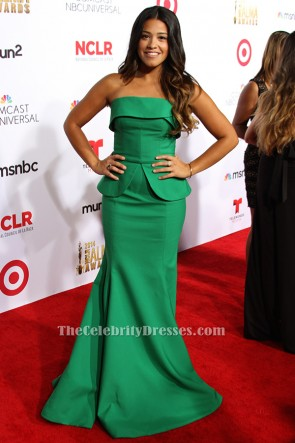 Gina Rodriguez Green Mermaid Formal Dress 2014 NCLR ALMA Awards TCD6430