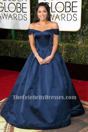Gina Rodriguez Navy Formal Dress 2016 Golden Globes Red Carpet Celebrity Dresses TCD6502