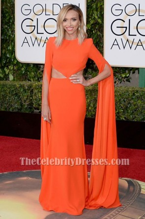 Giuliana Rancic Golden Globes 2016 Orange Long Sleeve Formal Dress TCD6500
