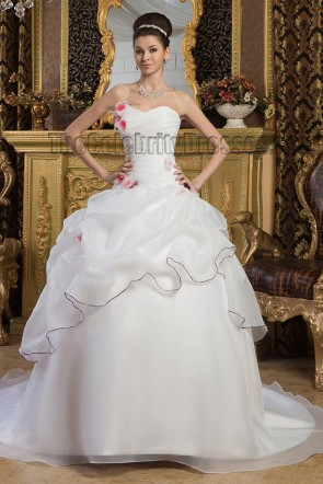Glamorous Strapless Ball Gown Chapel Train Wedding Dresses